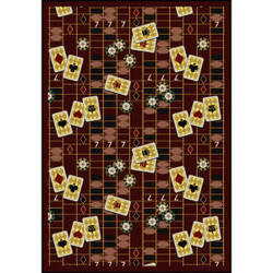 Joy Carpets Games People Play Feeling Lucky Burgundy Area Rug