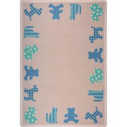 Joy Carpets Kid Essentials Frisky Friends Blue Area Rug