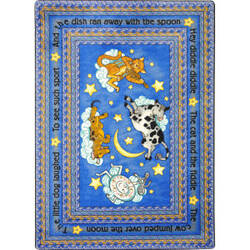 Joy Carpets Kid Essentials Hey Diddle Diddle Blue Area Rug