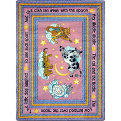 Joy Carpets Kid Essentials Hey Diddle Diddle Pink Area Rug