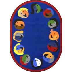 Joy Carpets Kid Essentials Joyful Faces Blue Area Rug