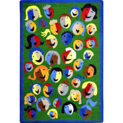 Joy Carpets Kid Essentials Joyful Faces Green Area Rug