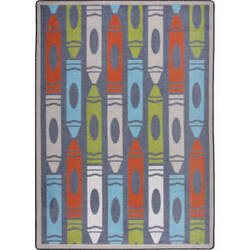 Joy Carpets Playful Patterns Jumbo Crayons Chalkdust Area Rug