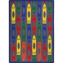 Joy Carpets Playful Patterns Jumbo Crayons Rainbow Area Rug