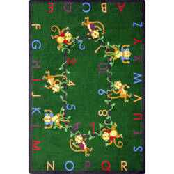 Joy Carpets Kid Essentials Monkey Business Green Area Rug