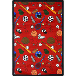 Joy Carpets Games People Play Multi-Sport Red Area Rug