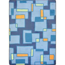 Joy Carpets Kid Essentials Outside The Box Cool Blue Area Rug