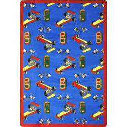 Joy Carpets Playful Patterns Pit Stop Blue Area Rug