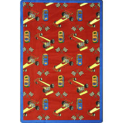 Joy Carpets Playful Patterns Pit Stop Red Area Rug
