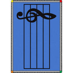 Joy Carpets Kid Essentials Play Along Blue Area Rug