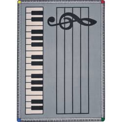 Joy Carpets Kid Essentials Play Along Gray W/ Keys Area Rug