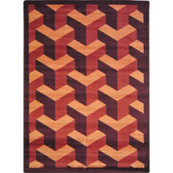 Joy Carpets Kaleidoscope Rooftop Burgundy Area Rug
