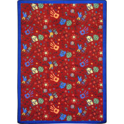 Joy Carpets Playful Patterns Scribbles Red Area Rug