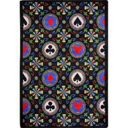 Joy Carpets Games People Play Stacked Deck Black Area Rug