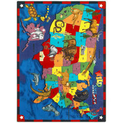 Joy Carpets Kid Essentials Wild America Multi Area Rug