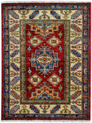 Kalaty Oak Pak Kazak 4501 Red - Ivory Area Rug