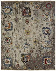 Famous Maker Soumak 100486 Linen / Denim Area Rug