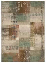 Karastan Enigma Abstract Blocks Antique White - Jade Area Rug