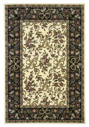 Kas Cambridge Floral Ribbons Ivory/Black 7310 Area Rug