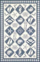 Kas Colonial Nautical Panel Blue-Ivory 1807 Area Rug