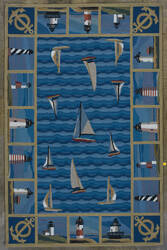 Kas Colonial Lighthouses Blue 1335 Area Rug