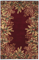 Kas Emerald Tropical Border 9017 Ruby Area Rug