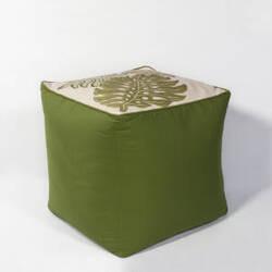 Kas Tropica Pouf F809 Ivory - Green