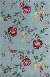 KAS Ruby 8919 Blue Floral Vines Area Rug