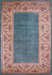 Kas Ruby Floral Border Slate Blue 8940 Area Rug