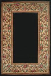 Kas Ruby Floral Border Black 8941 Area Rug