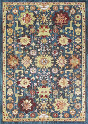 Kas Skyline 6431 Teal - Red Area Rug