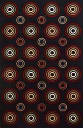 KAS Tate Concentric Circles 8500 Black Area Rug