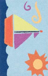 Loloi Angelou AN-01 Light Blue / Orange Area Rug