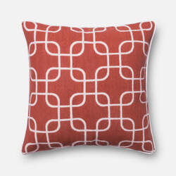 Loloi Printed Cotton Pillow P0175 Rust - Ivory