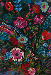Loloi Wild Bloom Wv-02 Forest - Fuchsia Area Rug