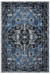 Lr Resources Infinity 81316 Black - Sky Blue Area Rug
