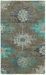 Lr Resources Nisha 04410 Teal - Gray Area Rug
