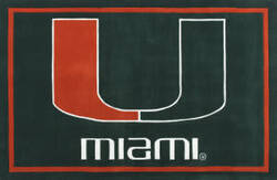 Luxury Sports Rugs Tufted University of Miami Green