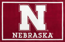 Luxury Sports Rugs Tufted University of Nebraska Red