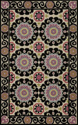Momeni Suzani Hook Szi-1 Black Area Rug