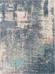 Nourison Abstract Shag Abs02 Slate Blue Area Rug