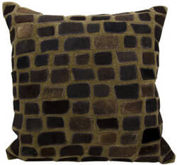 Nourison Natural Leather And Hide Pillow C5500 Chocolate