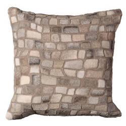 Nourison Pillows Natural Leather Hide C5500 Silver