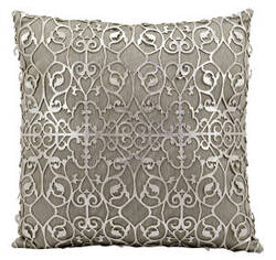 Nourison Pillows Laser Cut Es017 Silver White