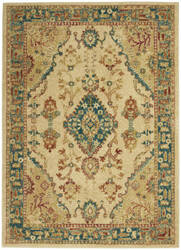 Nourison Traditional Antique Trq04 Ivory - Teal Area Rug