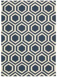 Nourison Linear Lin07 Blue - Ivory Area Rug