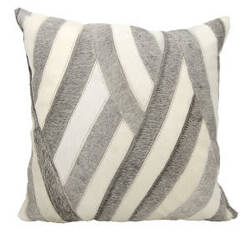 Nourison Natural Leather And Hide Pillow M1243 White Grey