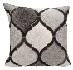 Nourison Natural Leather And Hide Pillow M879 Silver Grey