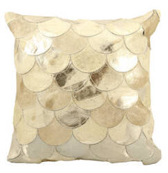 Nourison Pillows Natural Leather Hide S1203 Beige Gold