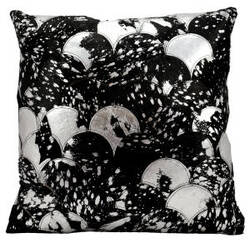 Nourison Pillows Natural Leather Hide S1203 Black - Silver